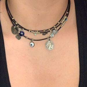Jewelry - Evil Eye Hamsa Leather Necklace